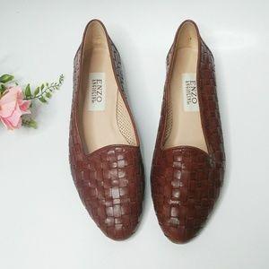 Vintage Brown Leather Woven Loader Flats 8